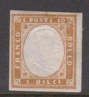Sardinia S 14  1855 King Victor Emmanurl II, 10c Bister, Mint - Sardinien