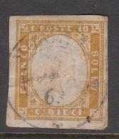 Sardinia S 14  1855 King Victor Emmanurl II, 10c Bister, Used - Sardinia