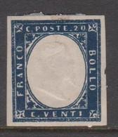 Sardinia S 15  1855 King Victor Emmanurl II, 20c  Indigo, Mint Hinged - Sardinia