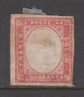 Sardinia S 16  1855 King Victor Emmanurl II, 40c Red, Fault, Mint Hinged - Sardinia