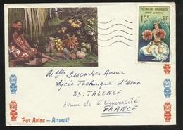 Polynésie Lettre Illustrée Par Avion Papeete  Poste Aérienne N°7   Oblitéré à L'arrivée Talence Le 09/02/1967    B/TB - French Polynesia