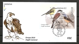 KOSOVO 2019,EUROPA CEPT,NATIONAL BIRDS,BLOCK,FDC - Kosovo