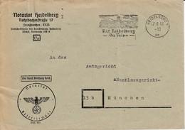 Env Frei Durch Ablösung Reich Obl OMEC HEIDELBERG Du 17.6.44 Alt Heidelberg / Du Feine Adressée à München - Lettres & Documents