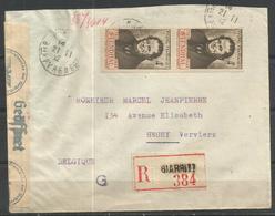 1942 - N° 550 PAIRE Oblitérée (o) Sur Lettre Recommandée Et Censurée - BIARRITZ - France