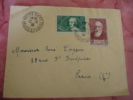 Timbre Anatole France 30 C Plus 10 Et Callot 35 Plus 10 C Chomeurs Intellectuels Sur Lettre Tours Gare - Marcophilie (Lettres)