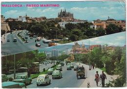 Palma De Mallorca: FIAT-SEAT 600, 850, 1500 RENAULT 8, AUTOBUS/COACH, CITROËN 2CV AZU - Paseo Maritimo -  (Espana/Spain) - Toerisme