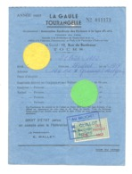 """Carte  De Pèche """" LA GAULE TOURANGELLE - TOURS 1952 - Cachet """" Au Brochet """"   (b252) - Unclassified"""