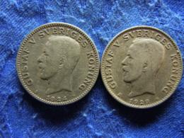 SWEDEN 1 KRONA 1924 KM786.1, 1929 KM786.2 - Sweden