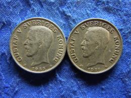 SWEDEN 1 KRONA 1935, 1938, KM786.2 - Sweden