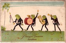 Frogs Musicians-Vintage-Germay-HWB-1929-postcard - Animali