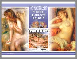GUINEA BISSAU 2019 MNH Pierre-Auguste Renoir Paintings Gemälde Peintures S/S - IMPERFORATED - DH1920 - Nudes