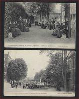 2 Postkaarten Van  Pensionnat Des Dames St - Charles Peruwelz Cour Des élèves ; Staat Zie 2 Scans ! - Péruwelz