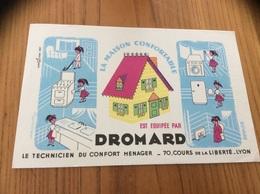 """Buvard * """"LA MAISON CONFORTABLE EST ÉQUIPÉE PAR DROMARD - LYON (69)"""" En Filigrane """"EXTRA MARAIS"""" - Electricidad & Gas"""