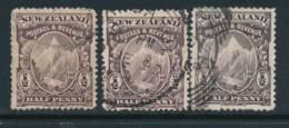 NEW ZEALAND, 1898 ½d All Shades As In SG, SG246 A,b,c - Gebruikt
