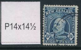 NEW ZEALAND, 1909 8d P14x14½ Fine Used - Gebruikt