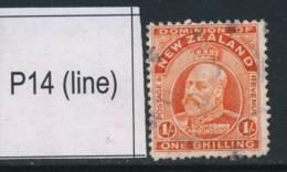 NEW ZEALAND, 1909 1/- P14 (line) Fine Used, SG399, Cat £14 - Gebruikt