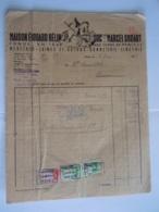 1945 Maison Edouard Hélin Suc. Marcel Godart Mons Merceries Laines Bonneterie Facture Lacomblet Hornu Taxe 6,80 Fr - Textile & Vestimentaire
