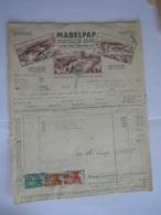 1949 Mabelpap Arlon Baelen S/Vesdre Manufacture Belge D'articles En Papier Facture Moranduzzo Ath Taxe 41,90 Fr - Drukkerij & Papieren
