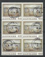 DENMARK Dänemark 1988 Michel 932 Kunst Gemälde P. Hansen Badende Jungen O As 6-block - Dänemark