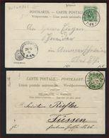 2 Postkaarten REICHSPOST Met Stempels AUGSBURG 1904 En AMMERSCHWEIER + BEBELNHEIM 1898 ; Staat Zie 2 Scans ! - Allemagne