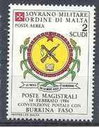 1986 ORDRE MALTE PA 24 ** Armoirie Burkina Faso , Issu De Paire - Malte (Ordre De)