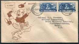 1941 South Africa Pietermaritzburgkamp/camp FDC. Mussolini Greece Patriotic Propaganda Cartoon Cover - South Africa (...-1961)