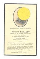 Faire-part De Décès De Bernard RENAULT Ier Artillerie - DUNKERQUE 1 Juin1940 ( Inhumé à Koksijde ) - Guerre 40/45 (b252) - Décès