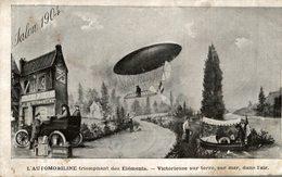 CARTE PUB L'AUTOMOBILINE TRIOMPHANT DES ELEMENTS SALON 1904 - Advertising
