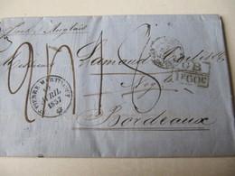 MARQUE POSTALE  LETTRE  ST PIERRE  MARTINIQUE    Vers  BORDEAUX   1857 - Marcophilie (Lettres)