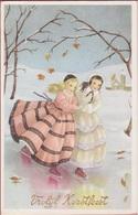CPA SCHAATSEN ICE SCATING PATINAGE EISLAUFEN Ijsschaatsen Vrolijk Kerstfeest Girls Enfants Children Winter Winterpret - Portraits