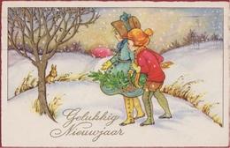 Old Postcard Kind Child Enfants Goldprint Gouddruk Rabbit Lapin Konijn Enfants Children Illustrator Illustrateur 1934 - Portraits