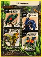 Bloc Oblitéré De 4 T.-P. - Perroquets Éclectus Conure De Caroline Ara Hyacinthe Loriquet Arc-en-ciel - Djibouti 2016 - Dschibuti (1977-...)