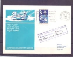 Rép. Française - Seaspeed Hovercraft Service - First Flight Dover - Boulogne  - 1/8/68   (RM13928) - Other (Sea)