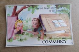 COMMERCY - Viens Sous Ma Tente Et Tu Verras - Camping Illustrateur,Illustration, Humour, Carte à Système ( 55 Meuse ) - Commercy