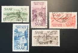 "Sarre 1948  Mi. 255-59 ""Hochwasserhilfe"" OBLIT DE COMPLAISANCE (Yv 244-47 + PA 12 Saar Saarland Saargebiet Inondation - 1947-56 Occupation Alliée"
