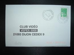 LETTRE TP M. DE LUQUET 2,70 OBL.9-4 1999 38 LA MOTTE-ST MARTIN GA ISERE (GUICHET ANNEXE) - Manual Postmarks