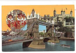 Inghilterra England London Tower And Tower Bridge With Yeoman Warders Viaggiata 1974 Condizioni Come Da Scansione - Tower Of London