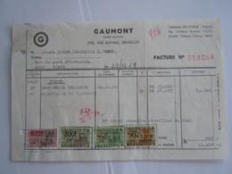 1969 Gaumont Bruxelles Films Facture Cinés Forum Churchill Liège Taxe 949 Fr - België