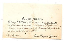 Saint Fargeau 89 Carte Visite Conducteur De La  Voie P.L.M - Mappe