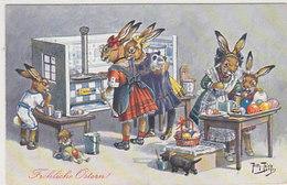 Fröhliche Ostern - Hasen Beim Eierkochen & -bemalen - Sign. Thiele - 1913         (190524) - Thiele, Arthur
