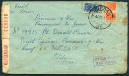 1942 South Africa Durban Prisoner Of War Censor Airmail Cover - POW Camp 65 Gravina Italy - South Africa (...-1961)