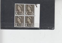 GRAN BRETAGNA  1967-70 - Unificato  522 (quartina) - Scozia - Regionali