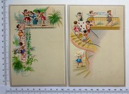 2 CHROMOS    LITHOGRAPHIES  CARTONNÉES....GRAND FORMAT... H  14 Cm...PETITS ANGES - Vieux Papiers