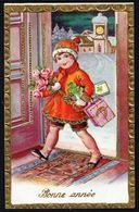 """ENFANT - CP -  Fillette Apportant Fleurs Et Cadeaux - """" Bonne Année """" - Circulé - Circulated - Gelaufen - 1942. - Niños"""