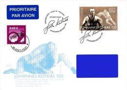 Estonia Estland Estonie 2015 (02) Johannes Kotkas - 100th Birth Anniversary - Wrestling (addressed FDC) - Estonia