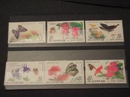 COREA NORD - 1987 FARFALLE/FIORI 6 VALORI - NUOVI(++) - Corea Del Nord