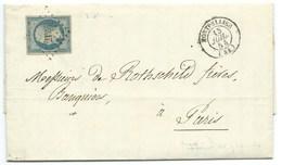 N° 14 BLEU LAITEUX NAPOLEON SUR LETTRE / MONTPELLIER POUR PARIS / 15 JUILLET 1854 / BANQUE ROTHSCHILD - 1849-1876: Klassieke Periode