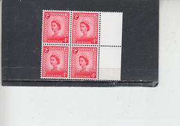 GRAN BRETAGNA  1967-70 - Unificato  532 (quartina) - Man - Regionali