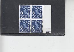GRAN BRETAGNA  1967-70 - Unificato  535 (quartina) - N.Irlanda - Regionali
