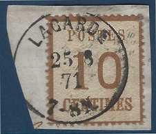FRANCE Fragment Alsace Lorraine N°5b 10c Burelage Renversé Dateur Allemand De Lagarde Superbe - Alsace-Lorraine